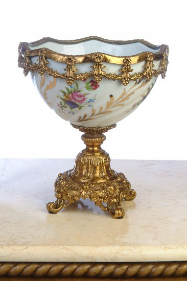 PORCELAIN HAND PAINTED BOWL WITH ANTIQUE SOLID BRASS & BRONZE
