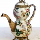 PORCELAIN TEAPOT  ANTIQUE STYLE W/ LID & BRASS TRIM