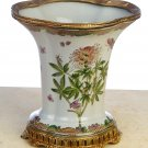PORCELAIN VASE ANTIQUE STYLE CRACKLED WITH BRASS