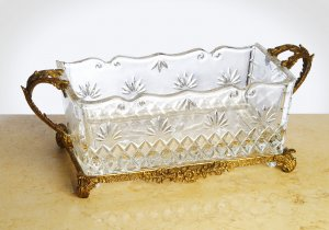 CARVED CRYSTAL WITH ANTIQUE BRASS RECTANGLE PLANTER,Free Shipping