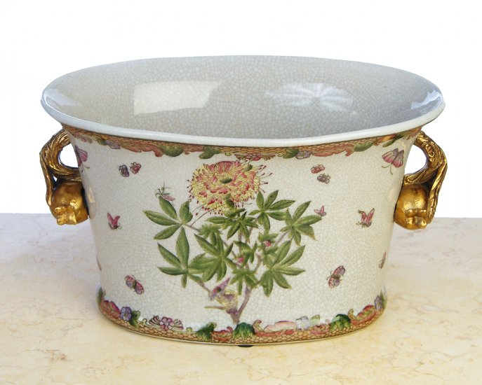 HAND PAINTED FLORAL PORCELAIN POT WITH BRASS