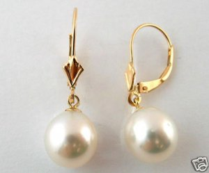 Beautiful 14KT Yellow Gold 9-10mm White Oval South Sea Pearl Dangle Earring - AAA QUALITY