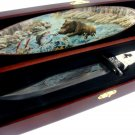 Fixed Blade Bear Knife in Wood Box Display NEW
