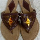 Avon Womens Ladies Brown Sandals w/ Rhinestone Size 5-6