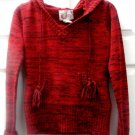 OP Junior Red Christmas Holiday Sweater w/ Hoodie Size M