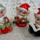 Homco Elf Elfs Christmas Figurines Set of (4) + Elf Ornament