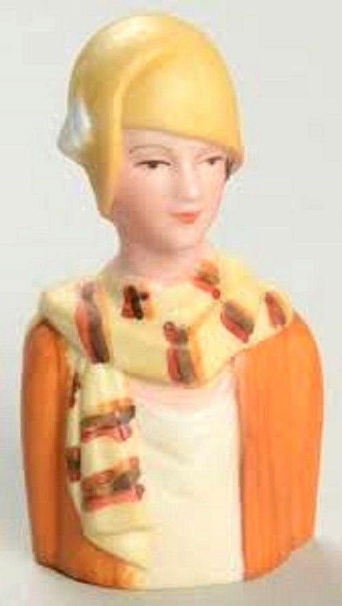 Avon American 1983 Fashion Women Yellow Hat Lady Thimble