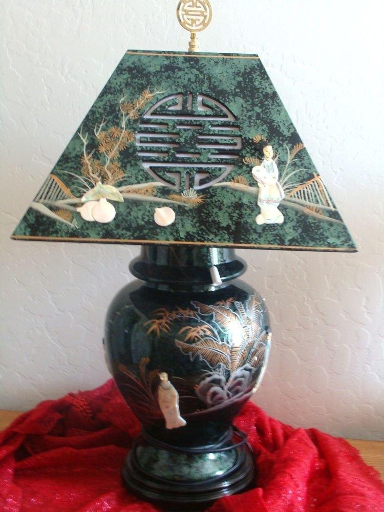 Oriental Green Lamp with Geisha Ladies & Lamp Shade
