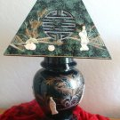 Oriental Green Lamp with Geisha Ladies & Lamp Shade