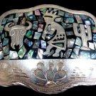 Sterling Silver Kokopeli,Steer, Cactus, Abalone Belt Buckle