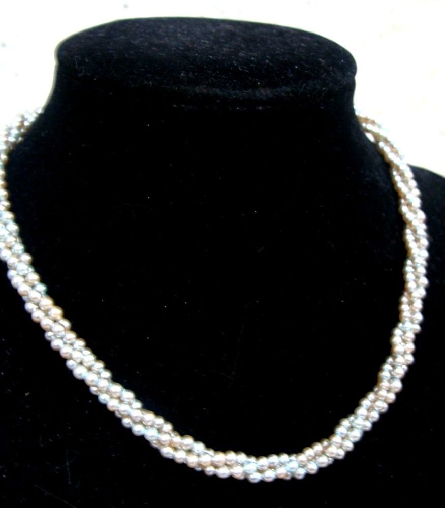Small Grey Pearl Girls (3) Strand Necklace Vintage