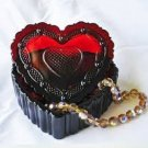 Avon Cap Cod Red Ruby Heart Trinket Box Vintage