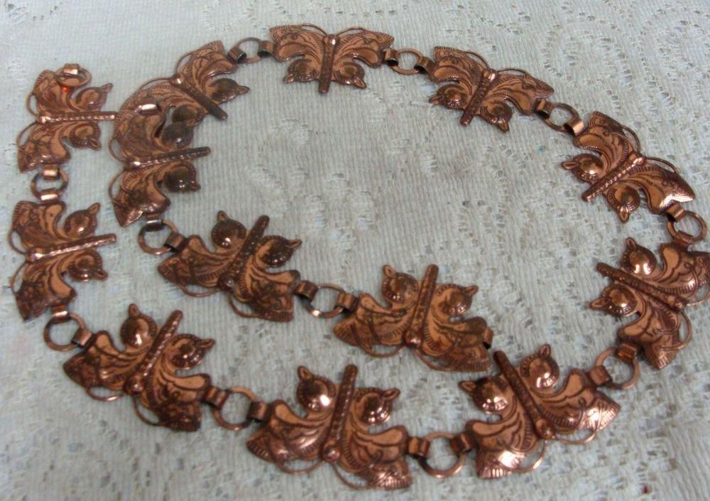"Bronze Butterfly Concho Vintage Belt  33"""