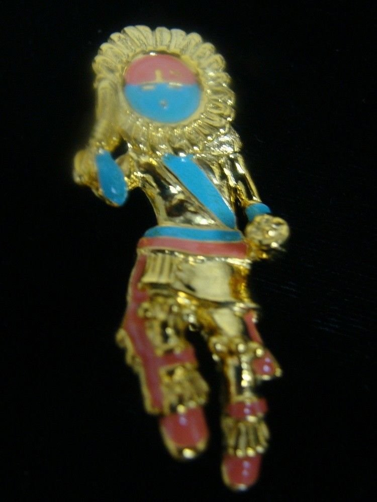 Goldtone Dancing Tribe Man Brooch Pin