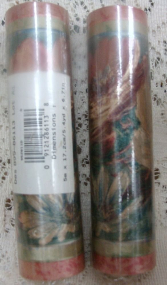 Border Pre-Pasted Solid Sheet 5.4 yd x 6.7 in. Floral Design (2)