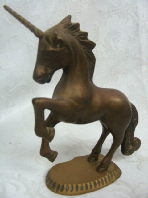 Solid Brass Vintage Unicorn Horse