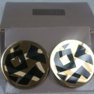 Avon Chroma Graphics Gold Tone Clip Earrings - (vintage)