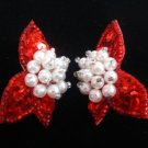 Holiday Red Sequin Pierced Earrings w/ White Pearls