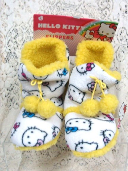 Hello Kittly Yellow Slippers Size L 9-10 - (NEW)