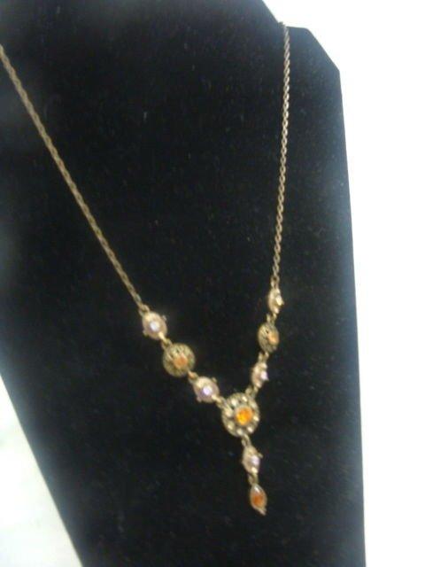 Avon Jewel Pendant w/ Earrings Antique Brass Plated - (NICE!)
