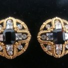 Black Goldtonel Rhinestone Clip Earrings - (vintage)