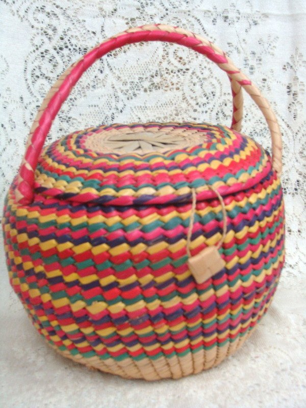 Straw Vintage Basket  Made in Mexico