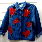 Tantrums Womens Ladies Denim Long Sleeve Red Floral Sequin Top Size L