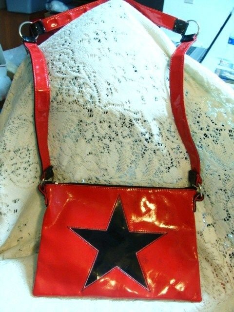 ROCKSTAR LATEX STAR CROSS PURSE EVENING HAND BAG TOTE