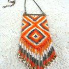 Southwest beaded Orange   Pendant w/ Chain