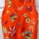 Halloween Thanksgiving Orange Top Womens Ladies Vest Size M