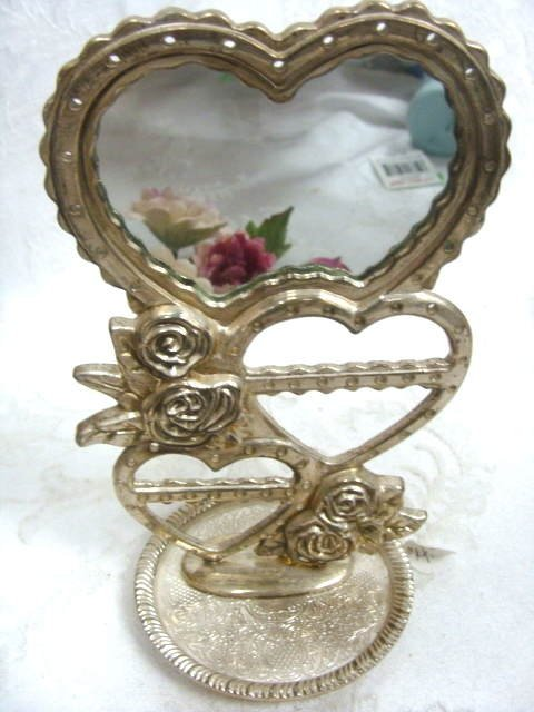 Heart Earring Stand Metal Display w/ Mirror