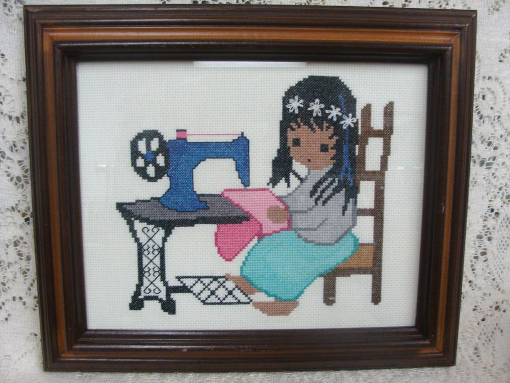 DeGrazia Cross Stitch Picture Sewing Machine w/ Wood Frame