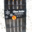 "Glass Icicles Tree Ornaments  8"" Long Set (8)"