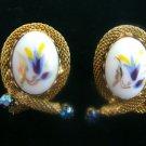Goldtone Vintage w/ Rhinestone Clip Earrings