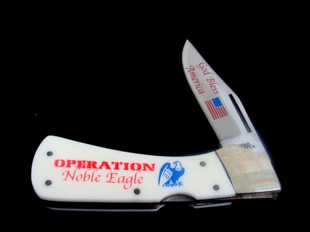 Frost Cutlery United we Stand Bone Handle Lockback Knife 440 Steel  Display Box