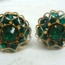 Green Goldtone w/ Rhinestone Clip Earrings - (vintage)