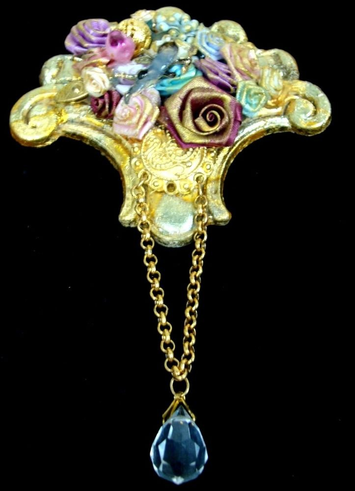 Floral Crafted Victorian Brooch Pin Womens - (PRETTY)