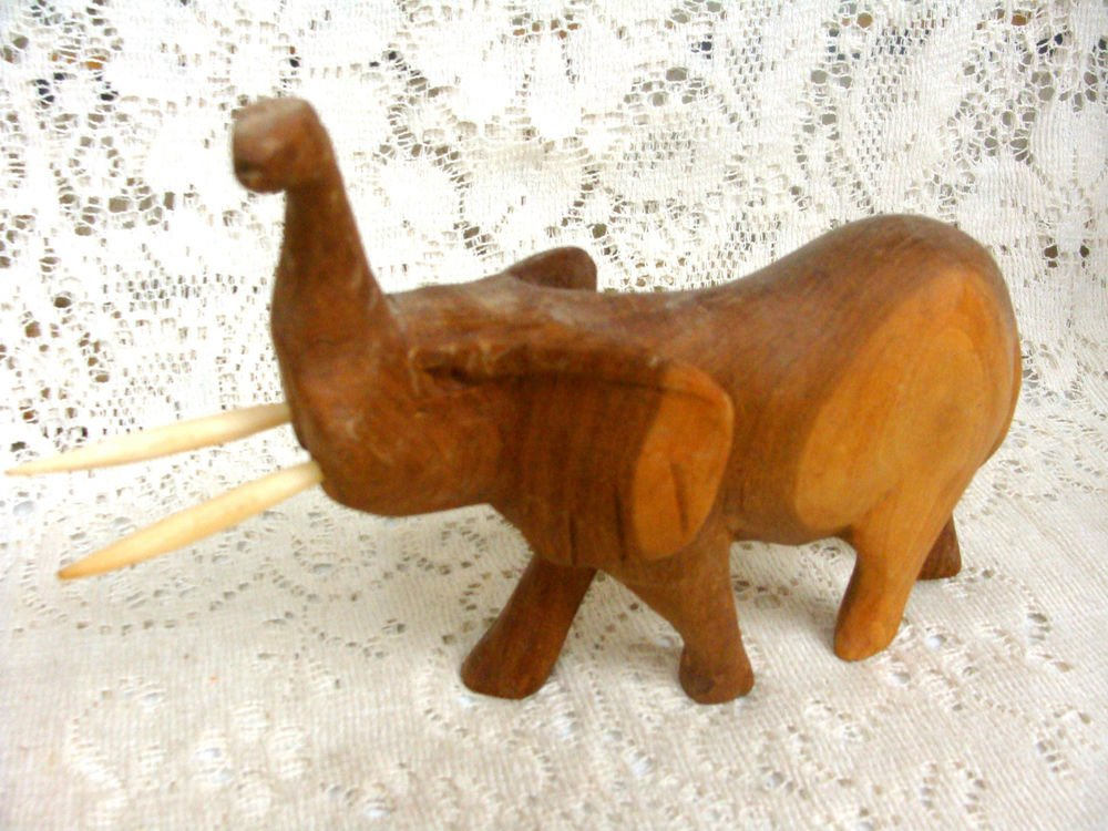 Elephant Wood Figurine w/ Husk Vintage Hand Carved Sculpture
