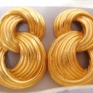 Avon Modern Curves Goldtone Pierced Earrings Vintage