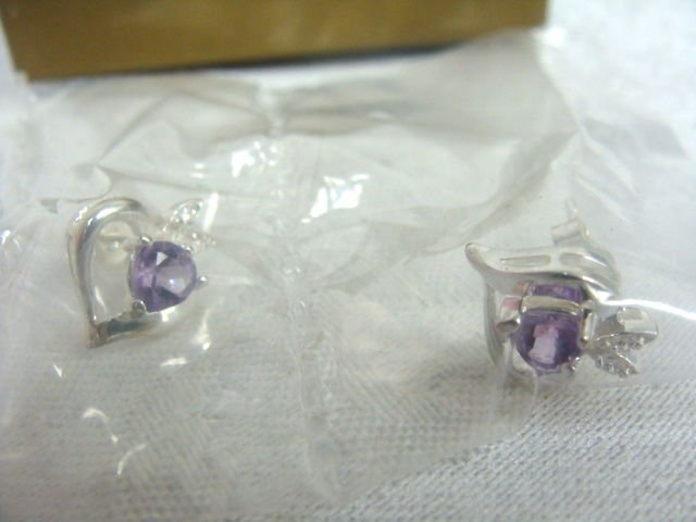 Avon Sterling Amethyst Heart Earrings - (NEW)