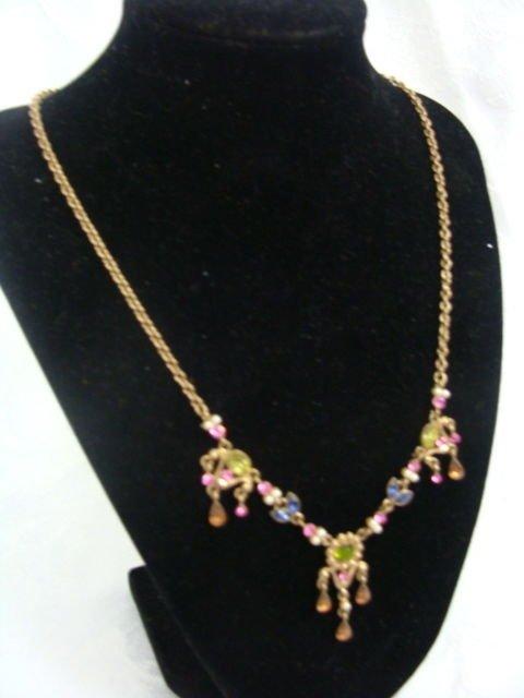 Avon Jewel Pendant w/ Earrings Goldtone - (NICE!)