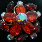 Red Stone Vintage Brooch - (PRETTY)