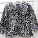 Cable & Gauge Womens Ladies Black & Grey Print Top Size Large
