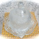 Avon Butter Crystal Dish  W/ (2) Hostess Fragranced Soaps