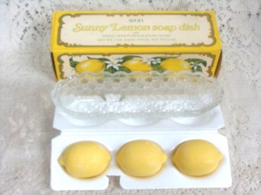 Avon Sunny Lemon Soap Dish  Three Lemon Fragranced Soaps