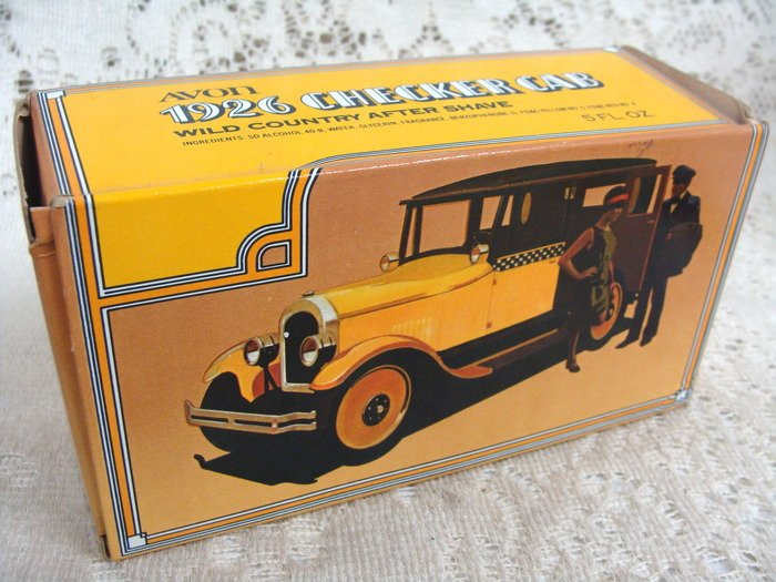 Avon 1926 Checker Cab Decanter Wild Country After Shave 5 oz.