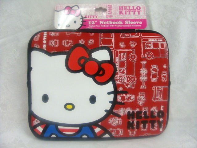 """HELLO KITTY 12"""" NETBOOK SLEEVE RED - (NEW)"""