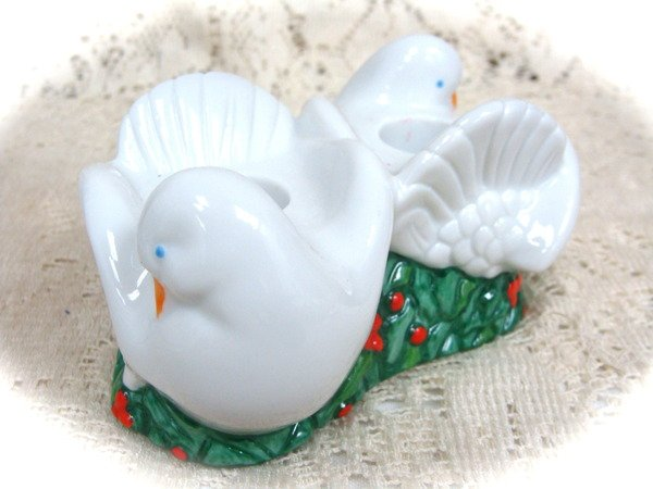 Avon Christmas Dove   Candlestick Candle Holders 1993
