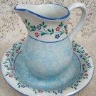 Antique Vintage Blue & White Bowl & Pitcher RB Bernarda 2295
