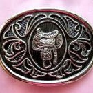 Avon Mens Silver Plated Saddle Belt Buckle
